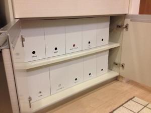 ポリプロピレンファイルボックスでキッチン収納